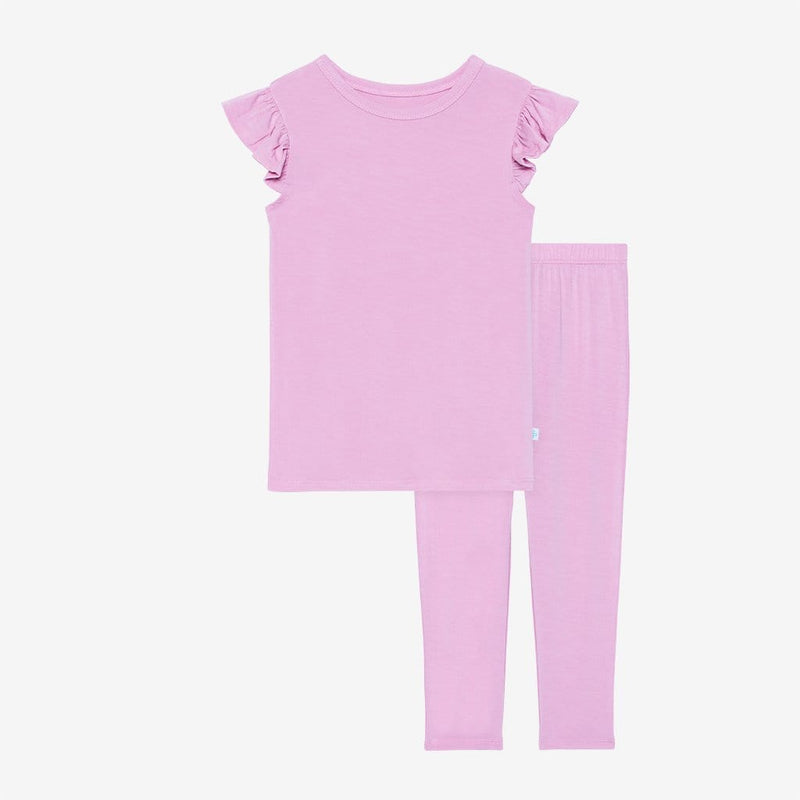 Lilac ruffled cap sleeve top and pajamas