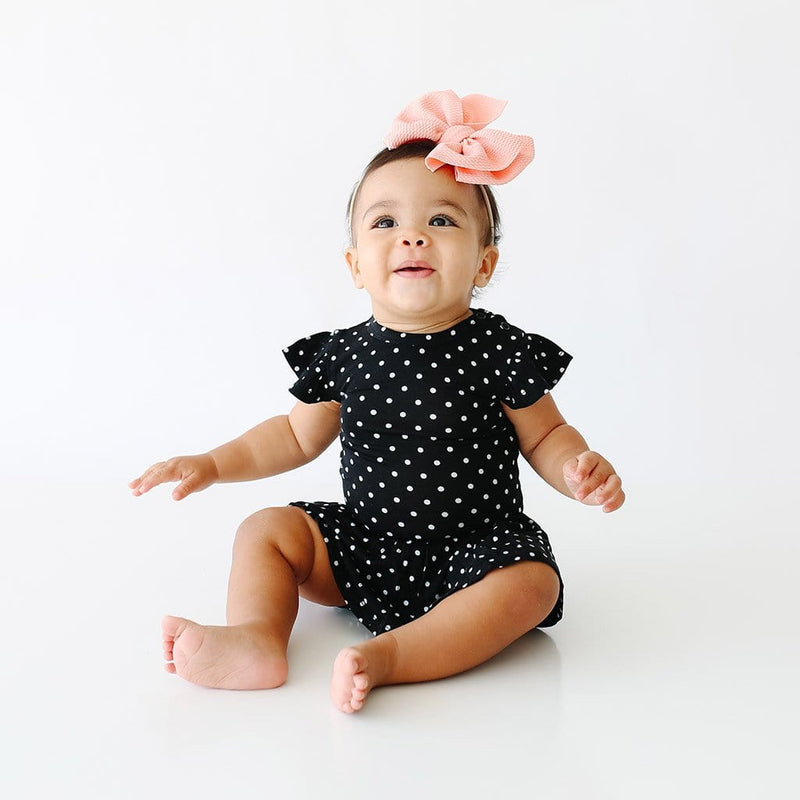 Baby on Lilly Ruffled Cap Sleeve Twirl Skirt Bodysuit with polka dots pattern