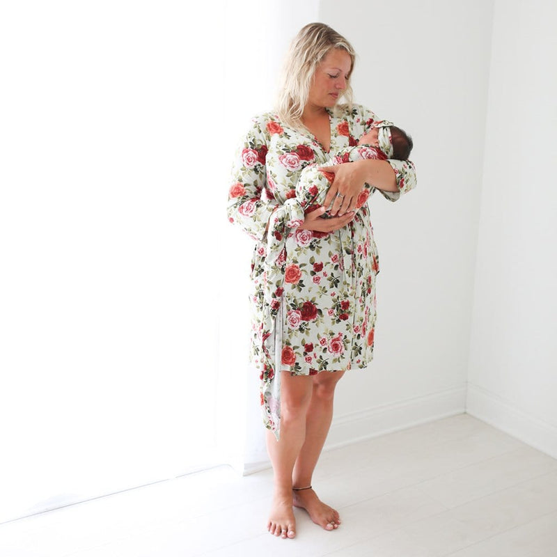 Baby with mommy wearing Lizzie Robe