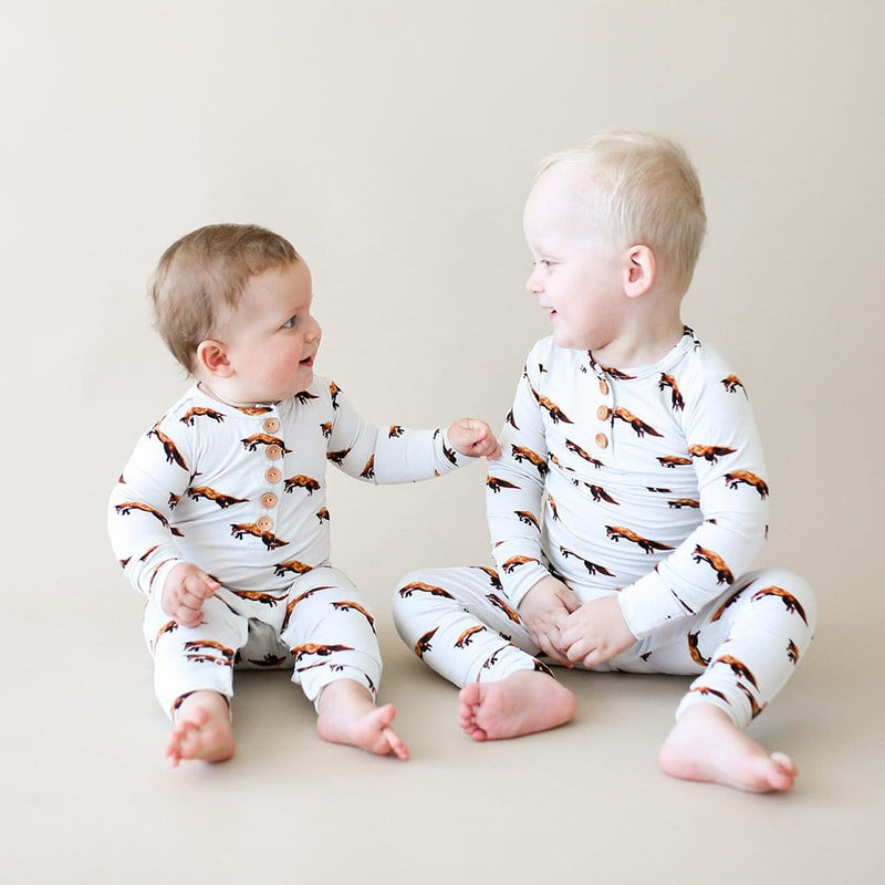Toddler with baby brother wearing Luca Long Sleeve Henley Pajamas
