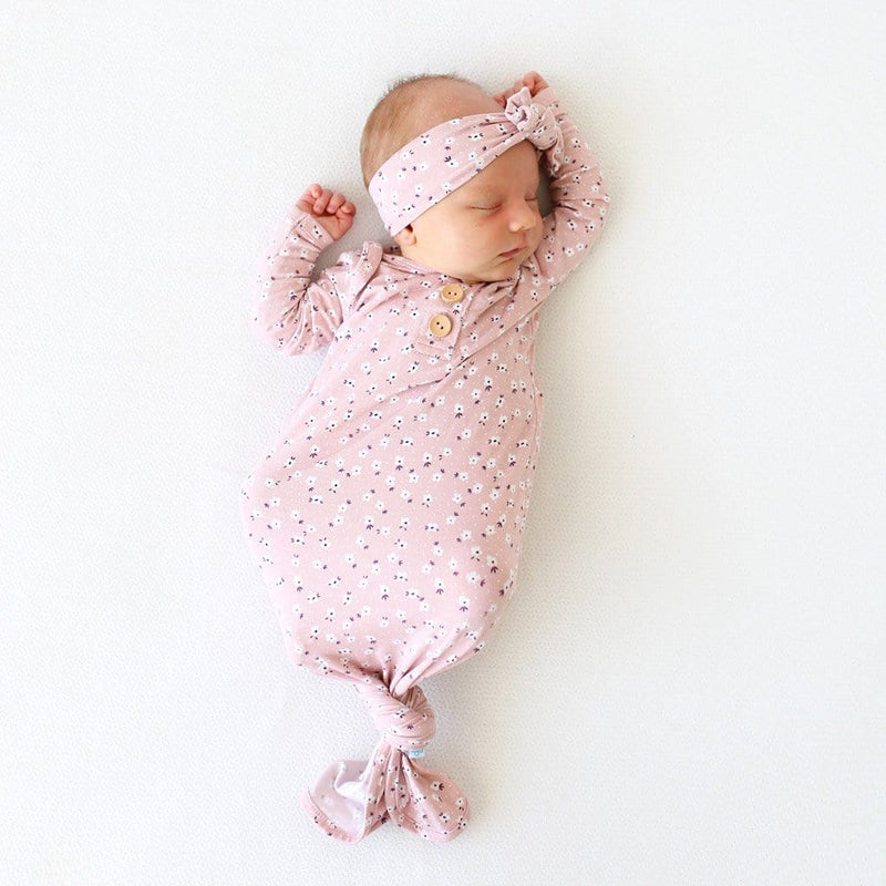 Baby on Maevis button knotted gown