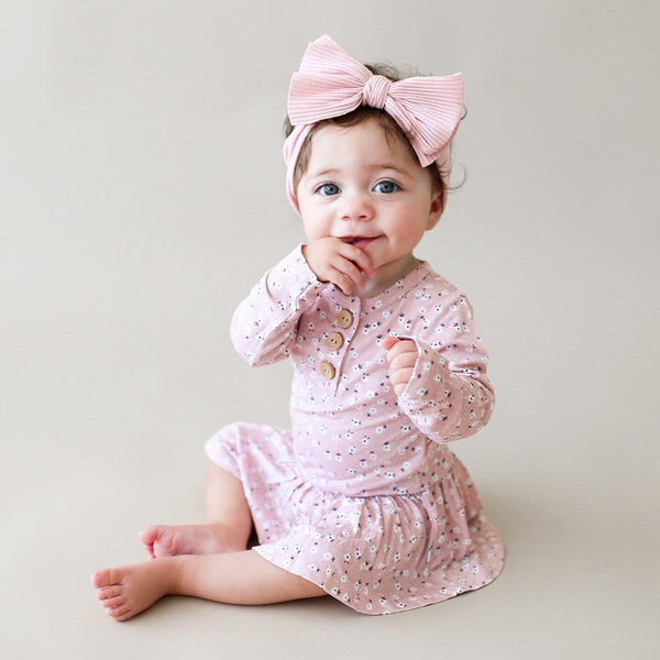 Baby on Maevis long sleeve henley twirl skirt bodysuit