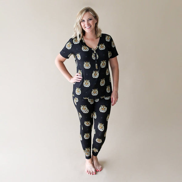 Mommy wearing Mateo women's short sleeve loungewear