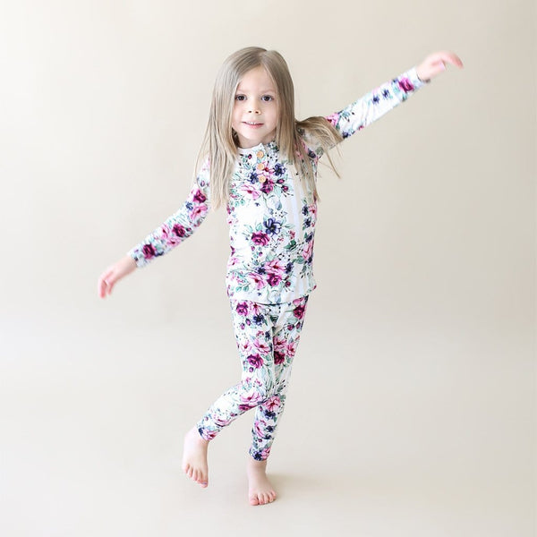 Toddler wearing Melina Long Sleeve Henley Pajamas