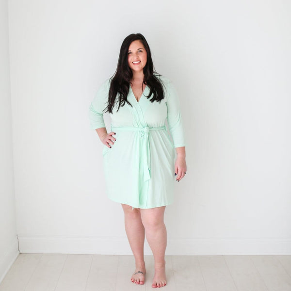 Mommy wearing mint robe