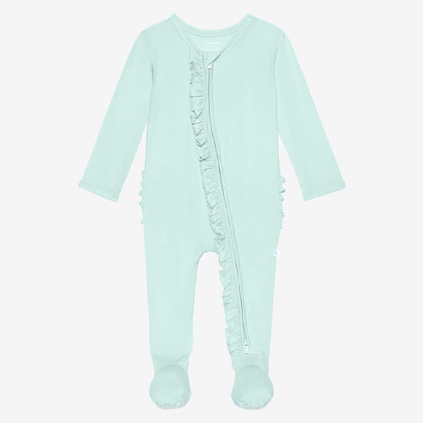 Front of mint footie ruffled zippered one piece