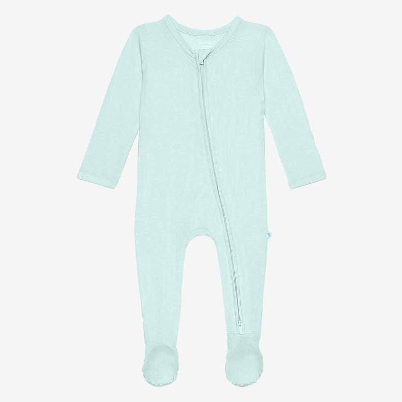 Front of mint footie zippered one piece