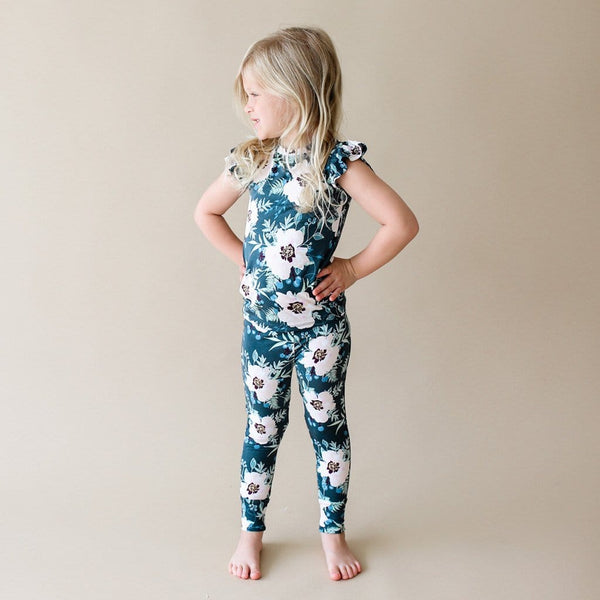 Toddler wearing Payton ruffled cap sleeve pajamas