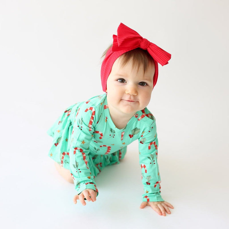 Crawling baby Peppermint with Candy Cane print Long Sleeve Twirl Skirt Bodysuit