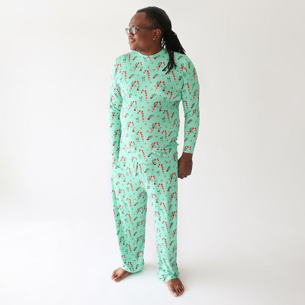 Daddy wearing Candy Cane printed Peppermint Men's Long Sleeve Loungewear