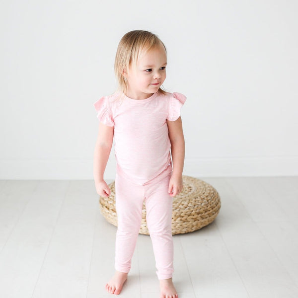 Pink Heather Ruffled Cap Sleeve Pajamas