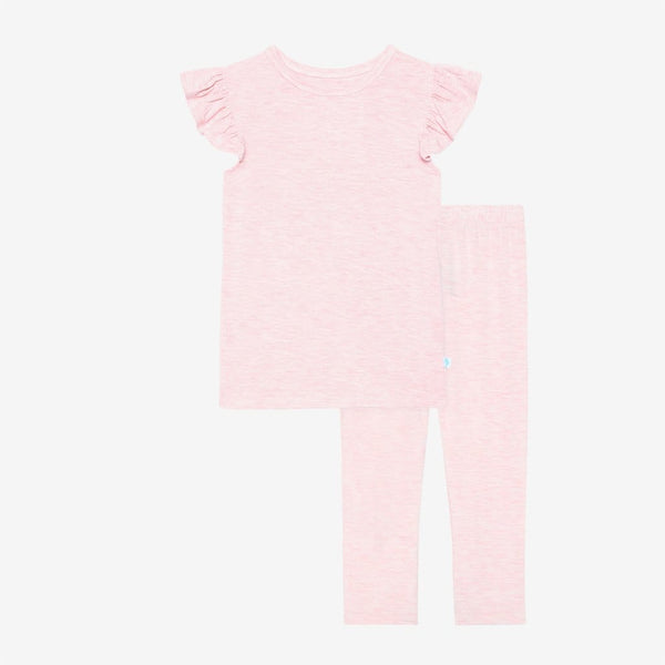 Pink Heather Ruffled Cap Sleeve Shirt & Pants Set