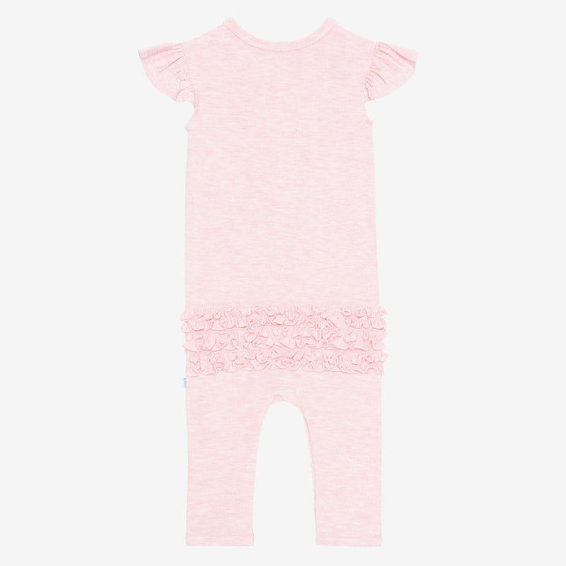 Pink Heather Ruffled Cap Sleeve Henley Romper