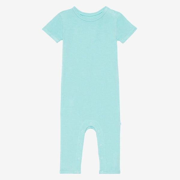 Front of pool blue short sleeve romper