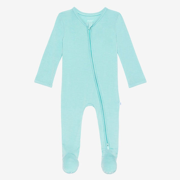 Front of pool blue footie zippered one piece