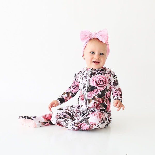 Baby on Rima Pink Floral Footie Ruffled Zippered One Piece