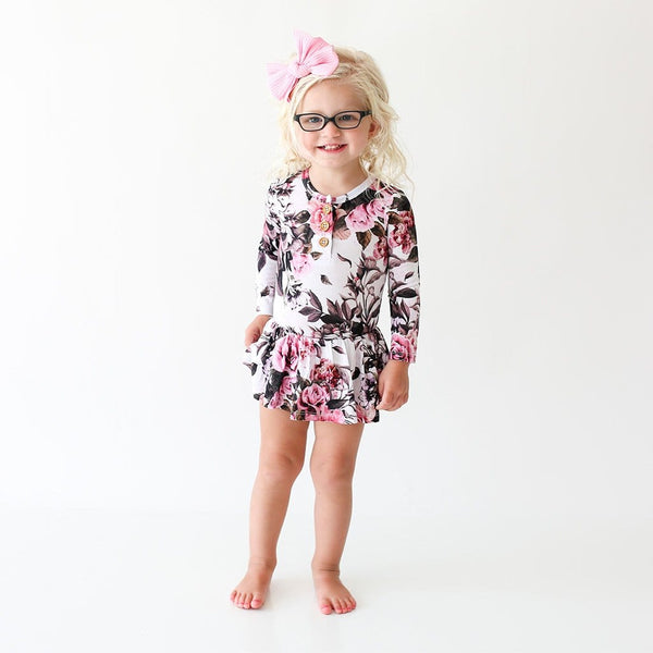 Toddler girl wearing Rima Pink Floral Long Sleeve Henley Twirl Skirt Bodysuit