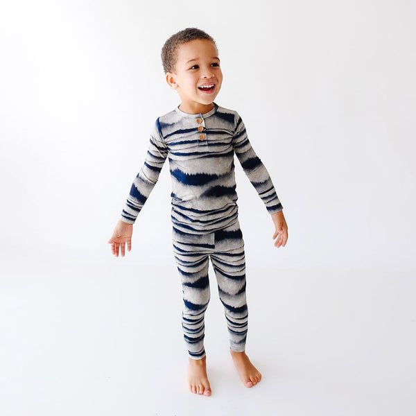 Toddler wearing Rowan Long Sleeve Henley Pajamas