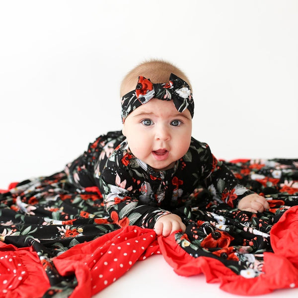 Baby wearing Rowena Dark Floral Headwrap