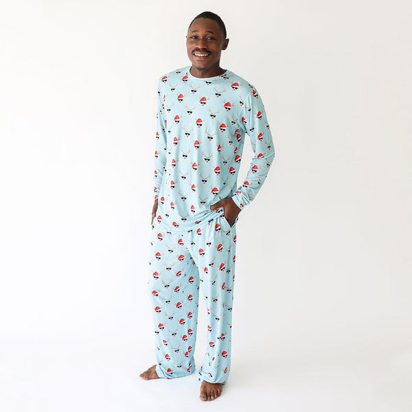 Daddy wearing Rudy with Reindeer Print on Men's Long Sleeve Loungewear