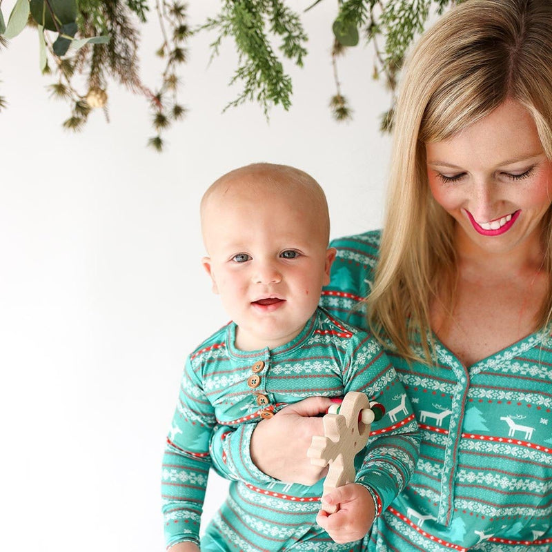 Baby with mommy wearing Sebastian Long Sleeve Henley Romper in blue and red print\