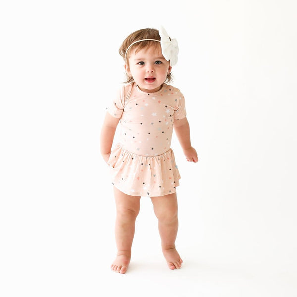 Baby wearing Star short sleeve twirl skirt bodysuit