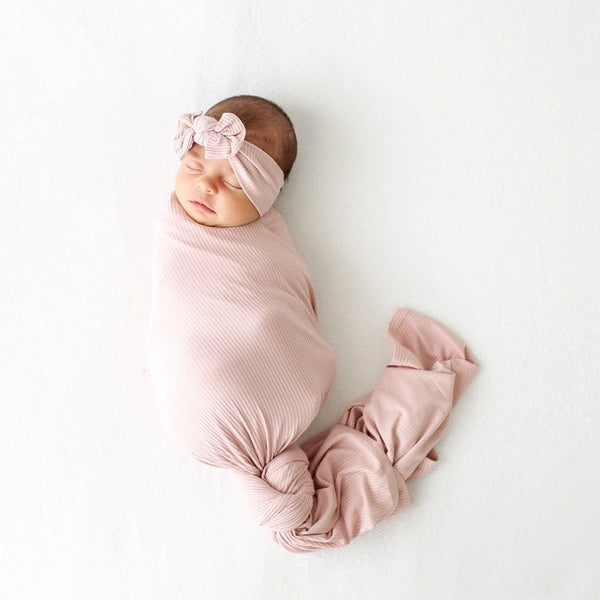 Baby on Sweet Pink Ribbed Swaddle Headband Set