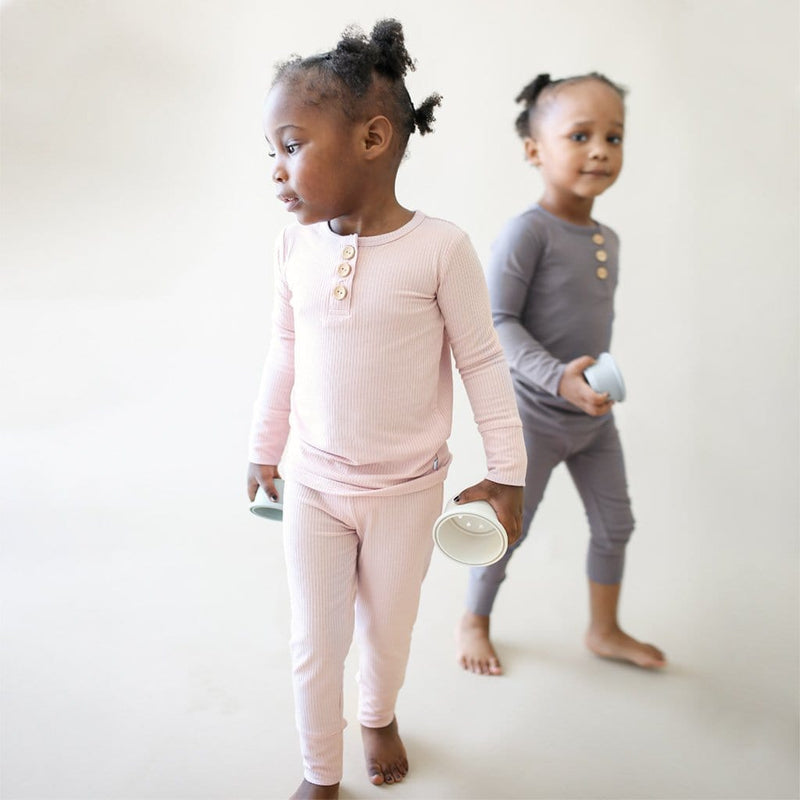 Toddler on Sweet Pink Ribbed Long Sleeve Henley Pajamas