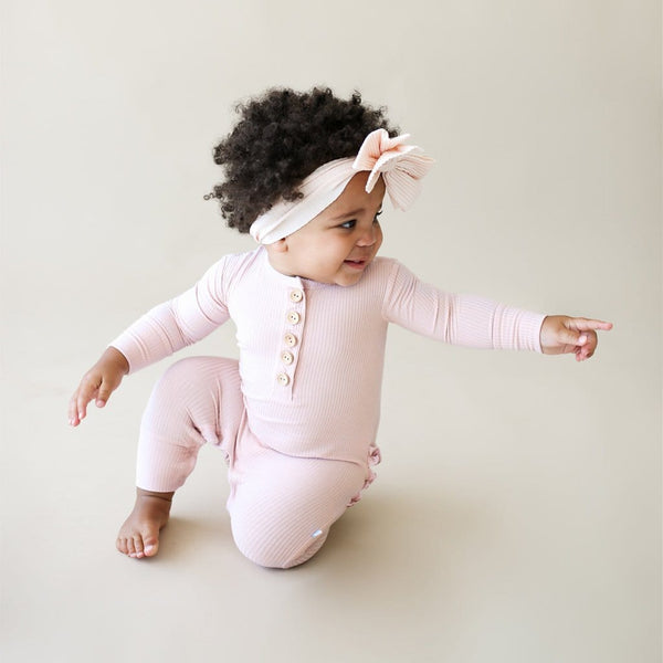 Baby wearing Sweet Pink Ribbed Long Sleeve Ruffled Henley Romper