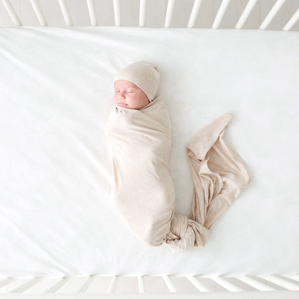 Tan Heather Swaddle Beanie Set