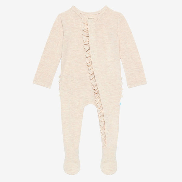 Tan Heather Footie Ruffled Snap One Piece