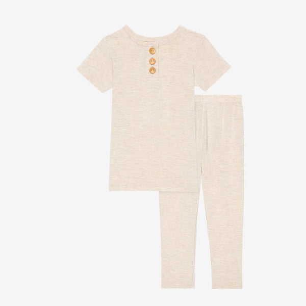 Tan Heather Short Sleeve Henley Pajamas