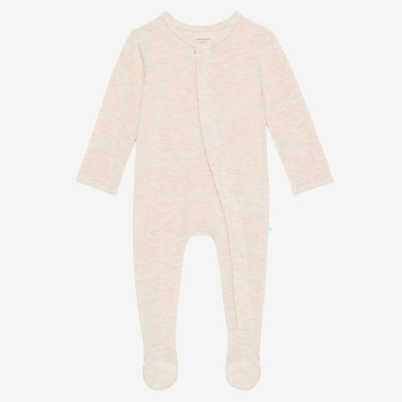 Tan Heather Footie Snap One Piece