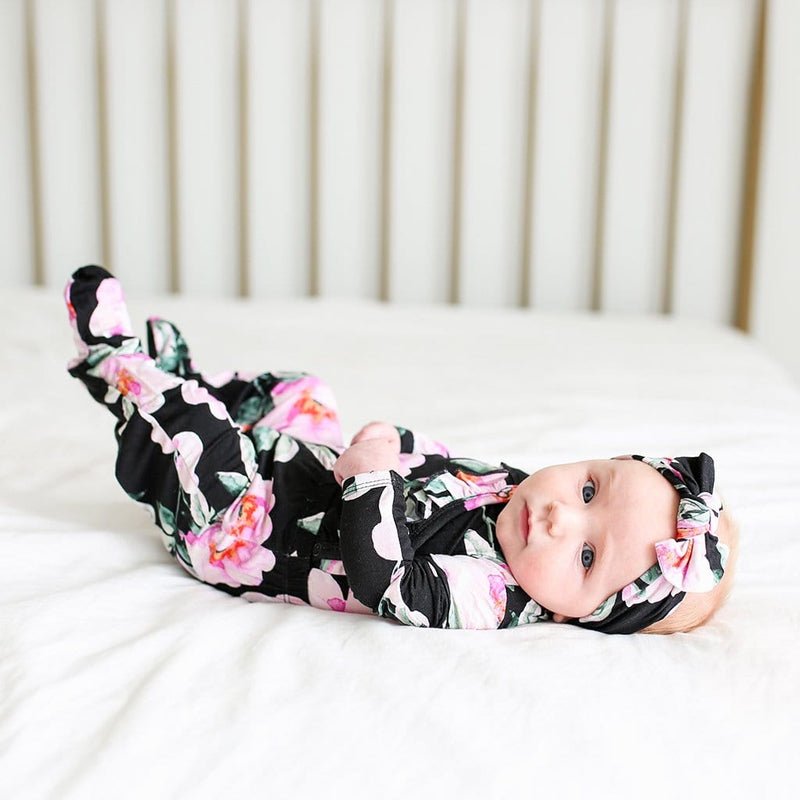 Baby on bed wearing Tenni Ruffled Kimono Set