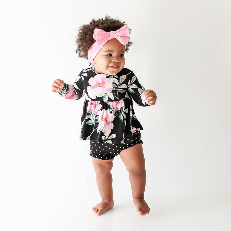 Baby wearing Tenni Long Sleeve Peplum Ruffled Bummie Set