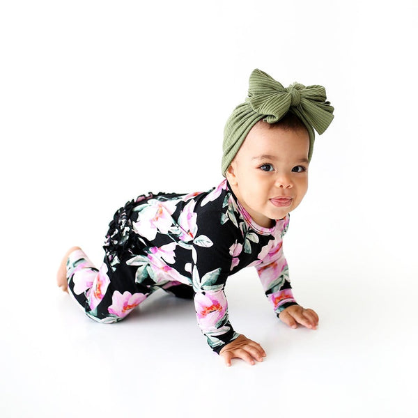 Crawling toddler wearing Tenni Long Sleeve Ruffled Romper