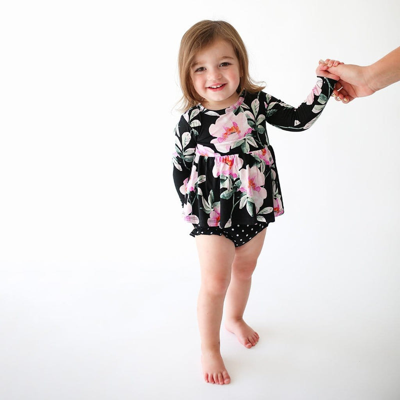 Cute baby on Tenni Long Sleeve Peplum Ruffled Bummie Set