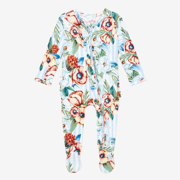 Victoria footie ruffled zippered one piece