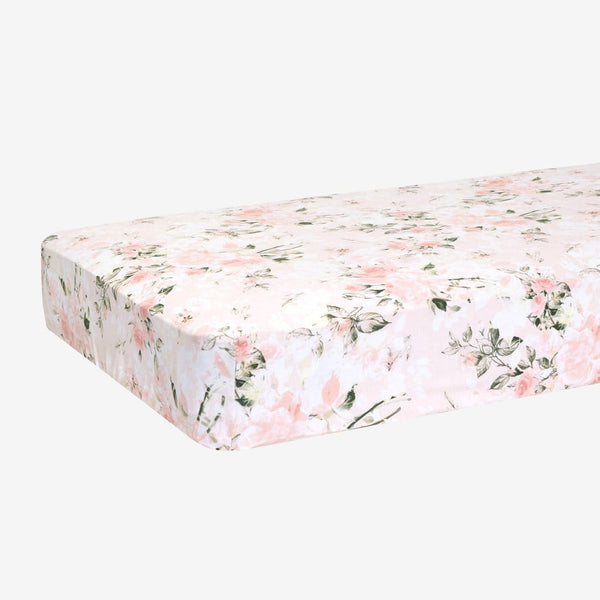 Vintage Pink Rose Crib Sheet