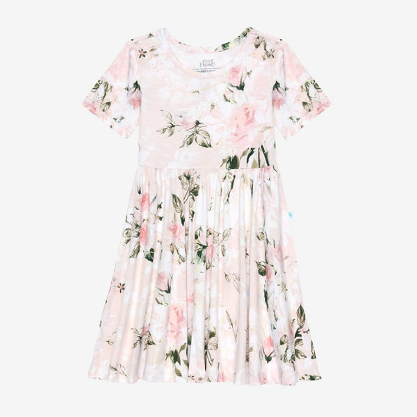 Vintage Pink Rose Short Sleeve Twirl Dress