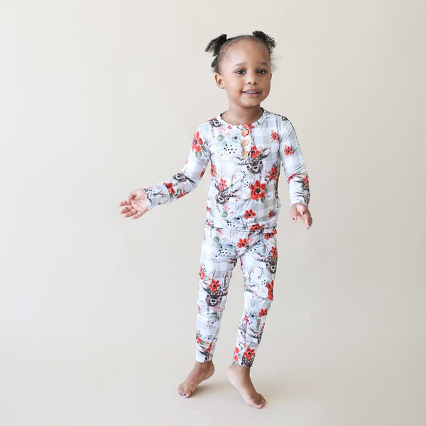 Toddler wearing Winnie Long Sleeve Henley Pajamas