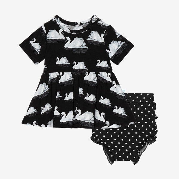 Leia Short Sleeve Peplum Ruffled Bummie Set with swan pattern