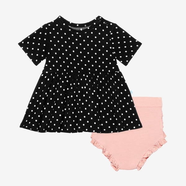 Lilly Short Sleeve Peplum Ruffled Bummie Set with polka dots pattern