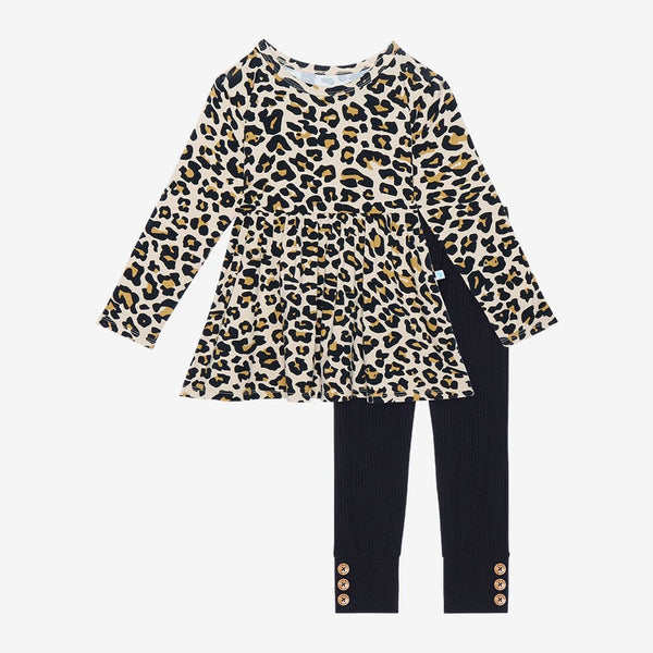 Lana Leopard Tan Long Sleeve Peplum Legging Set
