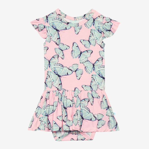 Beatrice Ruffled Cap Sleeve Twirl Skirt Bodysuit with butterfly pattern