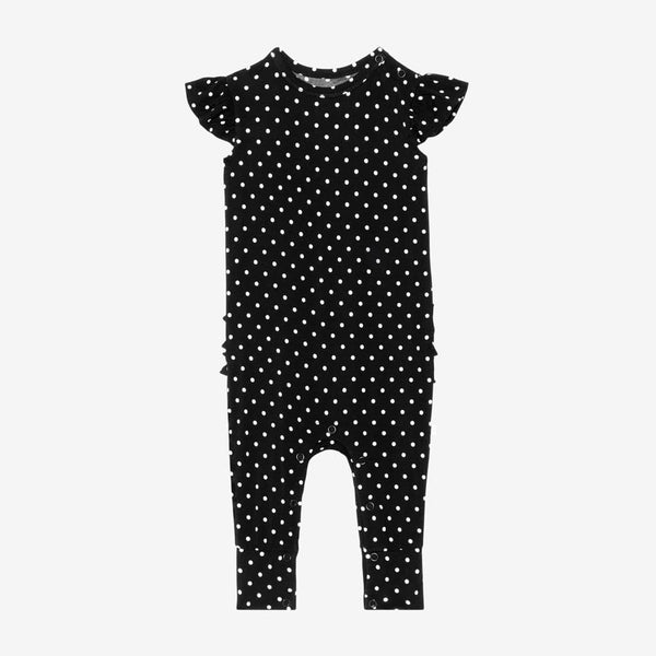 Lilly Ruffled Cap Sleeve Romper with polka dots pattern