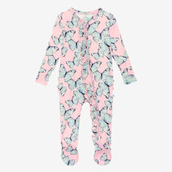 Beatrice Footie Ruffled Zippered One Piece with butterfly pattern