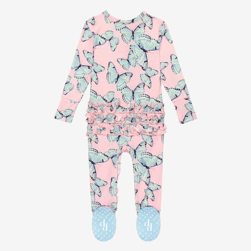 Beatrice Footie Ruffled Zippered One Piece with butterfly pattern back side