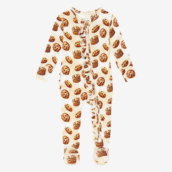 Chip Footie Ruffled Zippered One Piece with cookie pattern