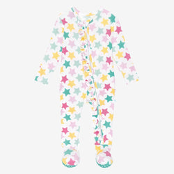 Crissy Footie Ruffled Zippered One Piece with star pattern